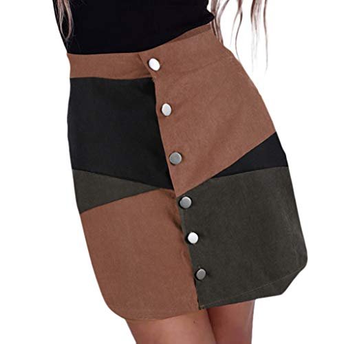 cinnamou Damenmode Patchwork Farbblock Lässige A-Line Rock Kurzer Minirock Röcke A-Linie Freizeit Kleider