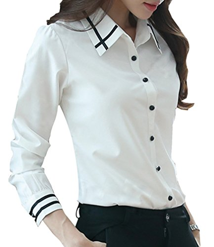 Yasong Women Long Sleeve Formal Top Shirt Work Business Office Blouse