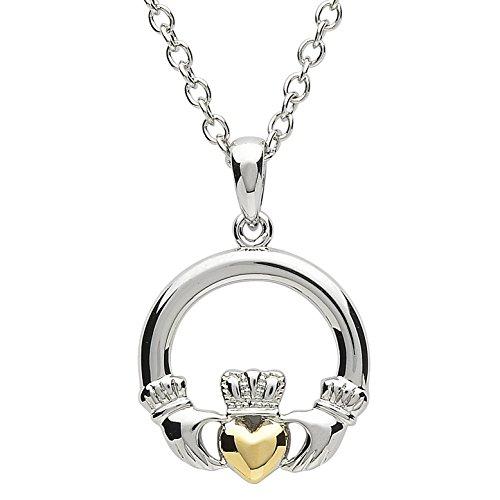 Shanore Damen Platiniert und Vergoldet Claddagh Anhänger Halskette