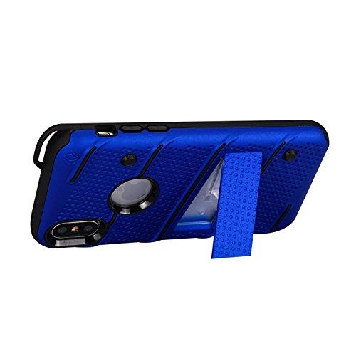 Oheng Tech Housse Armor Coque Case pour Apple iPhone X avec Super Impact Résistant double Structure de protection, élastique TPU + PC hard cover, avec protection caméra pour iPhone X (2017) Navy blue
