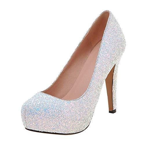 Vitalo donna scarpe decolte eleganti glitter plateau da sposa slip on con alto tacco a spillo(bianco,37)