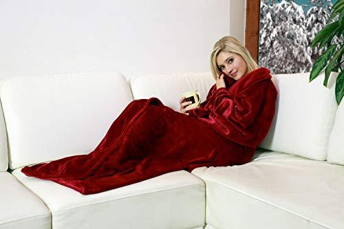 Walser Kuscheldecke Snuggle mit Ärmeln Beige, Weihnachten, flauschig weich, ideal für die kalte Jahreszeit (Rot, 170 x 200 cm)