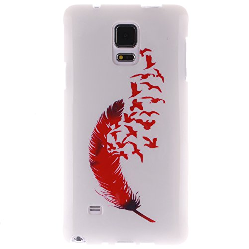 Nancen Samsung Galaxy Note 4 / SM-N9100 (5,7 Zoll) Ultra Slim Weich TPU Material Design Silikon Handytasche Schutzhülle, Painted Mode Anti-Kratz Handyhülle Case Hülle Backcover (Brille Regenbogen Feder Rahmen)