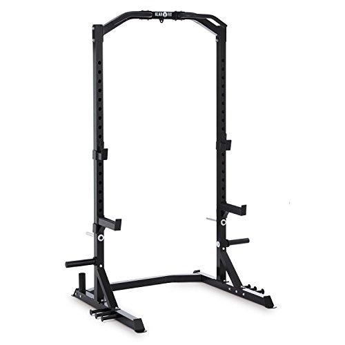Klarfit Rackotar Half Rack • Squat Rack • Kniebeugenständer • Langhanteltraining • 2 x Safety Spotter: 30cm Prallfläche • 2x J-Hooks • je 20-stufig • Klimmzuggriffe • Gewichtscheibenaufnahme • schwarz