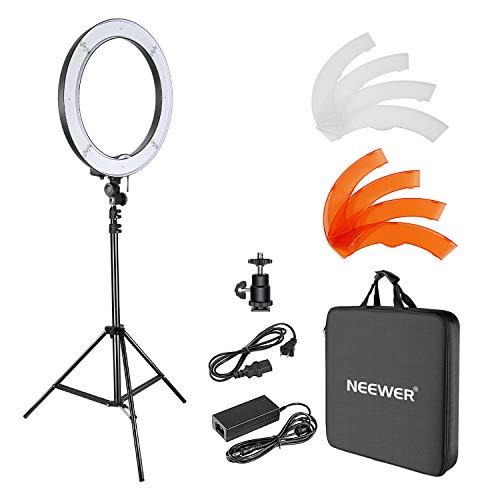 Neewer Kamera Foto Studio YouTube Video Beleuchtung Kit: 18 Zoll / 48 Zentimeter 55W Dimmbar LED SMD Ring Licht mit Farbfilter, 75 Zoll / 190 Zentimeter Licht Stand, Kugelkopf Heißschuhadapter