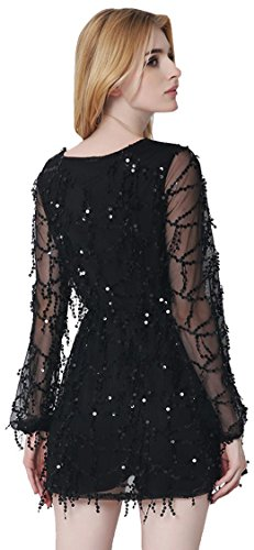 Jeansian Femmes Sexy Deep V Bling Brillant Tassel Robe Paillettes Flapper Manches Longues Women Glam Evening Party Mini Dress Clubwear WHW001 Black