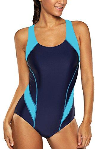 CharmLeaks Damen Einteiler Figuroptimizer Racerback Sport Badeanzug Elegance Dunkelblau 2XL (Damen Einteiler Badeanzug)