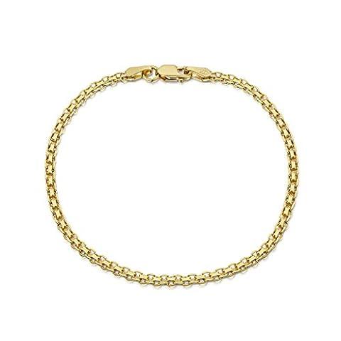 Amberta® Bijoux - Bracelet - Chaîne Argent 925/1000 - Plaqué Or 18K - Maille Bismarck - Largeur 2.2 mm - Longueur 18 19 20 cm (20cm)