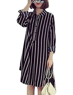 Las Mujeres De Manga Larga Camisa De Verano Casual Rayas Tamaño Mas Gasa Vestido