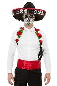 Smiffys 50800 - Kit para hombre (talla única), diseño de Día de los Muertos, color rojo
