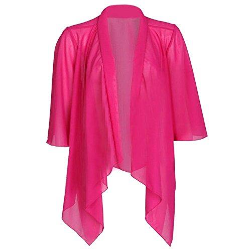 Ladies Open Floaty Draped Chiffon Kimono Waterfall Cardiigan EUR Taille 36-54 Cerise