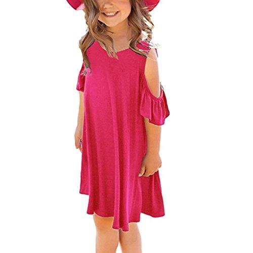 Janly® Dresses, For 0-9 Years Old Girls Plain Off Shoulder Dress Children Loose Casual Sundress Beachwear
