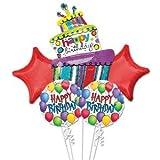 Feliz cumpleaños ramo de globos–Lámina de varios colores