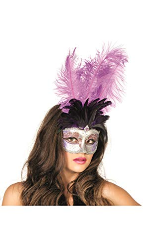 Jannes 34350 Venezianische Maske mit Langer Feder Venezianischer Karneval Venedig Einheitsgröße Lila