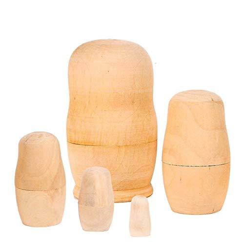 DADAO Nestern Puppen Blank Matryoshka, DIY Unpainted Blank Wooden Big Belly Shape-5pcs
