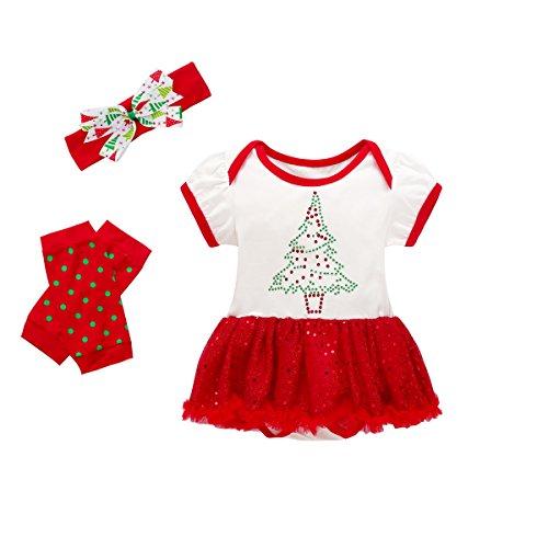 Baywell Baby Mädchen Weihnachten Bekleidungsset, Outfit Kleid mit Kopfband und Beinwärmer (L/90/18-24 Monate, Weihnachtsbaum)