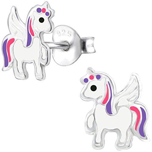 JAYARE Einhorn Kinder Ohrstecker 925 Sterling Silber Emaille 8 mm weiß rosa pink lila violett Mädchen Ohrringe