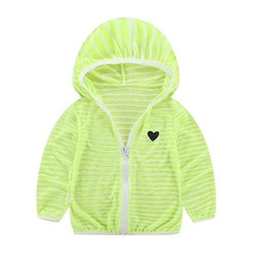 Beautop bébé Veste d'été Crème solaire respirant Vêtements pour garçons filles Manteau enfants rayé Capuche TOPS Vêtements vert green 90 cm
