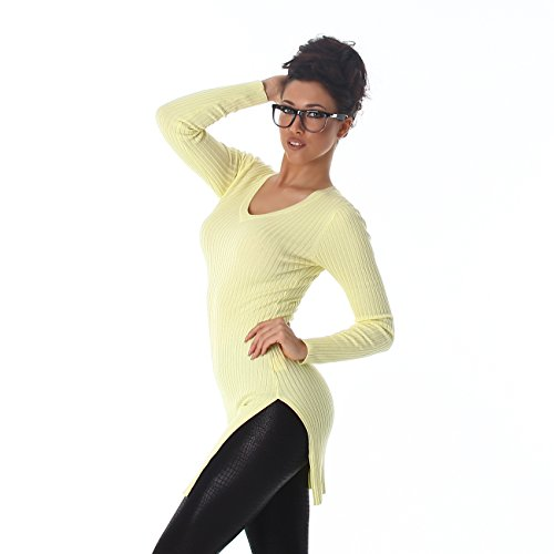 Femmes Voyelles tricot chandail Sweatshirt col V à manches longues long Jumper long Jumper 36,38,40 Jaune