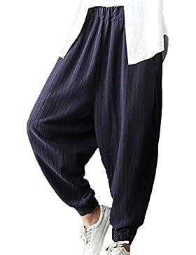 Huateng Pantalones harén acanalados elásticos de la cintura de las mujeres ocasionales Longitud 3/4 del algodón...