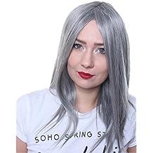 Prettyland C1146 - peluca lisa elegante luce el pelo medio largo diaria - en el gris Granny palo nombrado