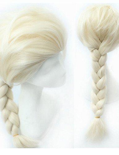 BBDM 28 pouces film princesse des neiges congelé elsa perruque blonde fibres à haute température grande cosplay de tresses perruques costume