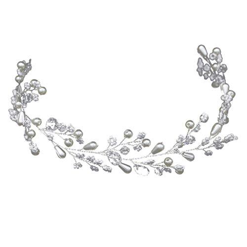 TeasyDay Brautkristallhirse-Perlen-Haar-Zusatz, Art- und Weisehochzeits-Kleiderbrautjungfern-Kopfschmuck, spezielles Entwurfs-heißestes Hochzeits-Stirnband,Braut Haarschmuck perlen (Weiß)