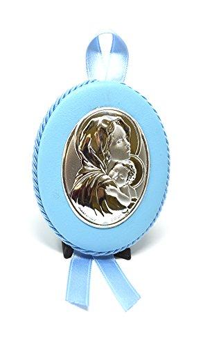 Medaille Baby   Wiege   Madonna mit Kind   Silber Methode PVD   athelier, Himmelblau