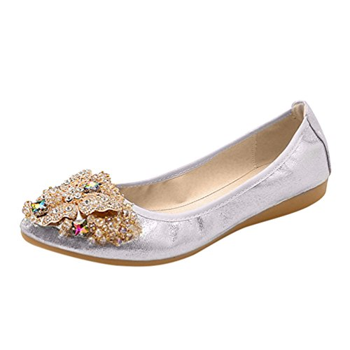 Jitong Damen Rhinestone Loafers Slip-on Spitze Zehenkappe Flache Schuhe Elegant Glitter Mokassins (Silber, Asien 45)