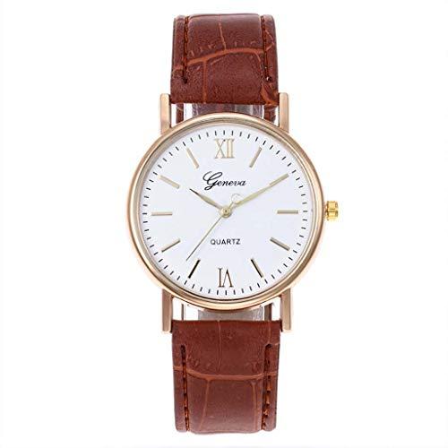 SHE.White Classic Damen-Armbanduhr Analog Quarz Leder Uhrenarmband Damenuhren Klassiker Minimalistisches Design Armbanduhren Uhren