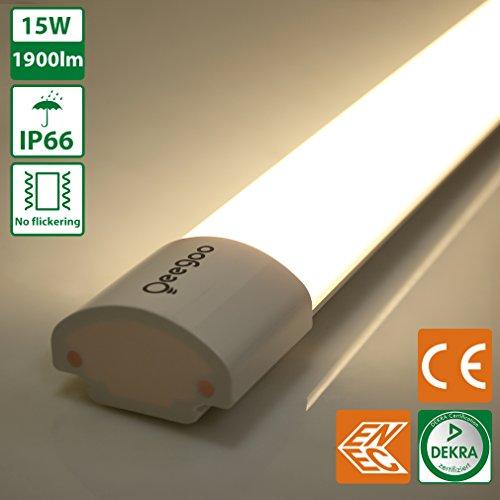 Oeegoo 60CM 15W LED Feuchtraumleuchte Ohne Flimmern Schutzklasse IP66 1900 lm - Ersatz 150 Watt...