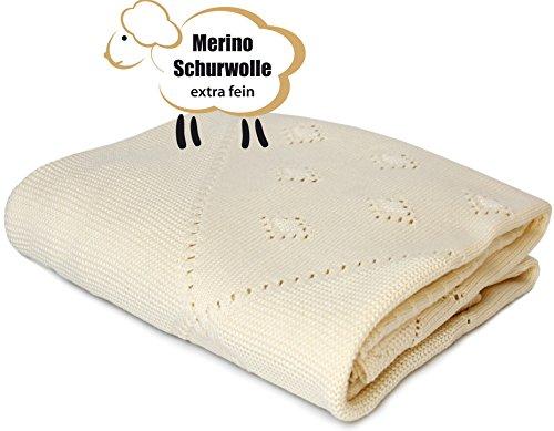 Babydecke Kuscheldecke und Schmusedecke aus 100 % Merino Wolle extra fine 80 x 90 cm -