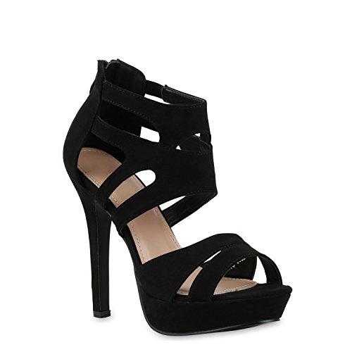 Stiefelparadies Damen Pumps Plateausandaletten Stilettos Cut-Outs Schuhe Sandaletten 121436 Schwarz 39 Flandell -