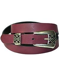 a9689c57064a FRONHOFER Fine ceinture pour femme 2 cm boucle à arabesques couleur argent  vieilli, ceinture en