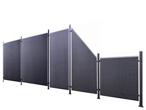 Poly-Rattan Sichtschutz / Zaun-Set 11-teilig schwarz ca. 588cm Prime Tech