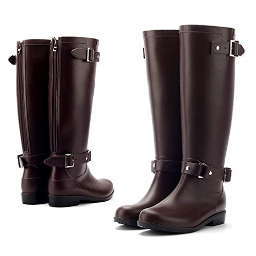 AONEGOLD Wellington Boots Women Waterproof Rain Boots Festival Wellies Boots Half-Height Zip Rubber Shoes,Best Chioce for Casual and Daily Wear