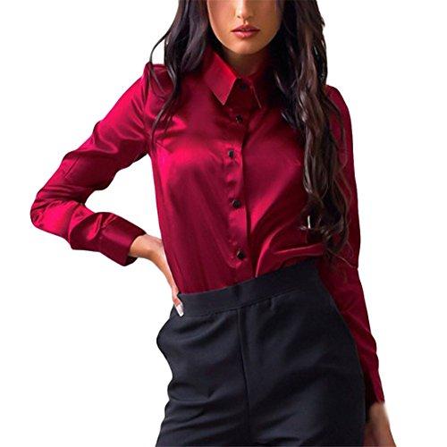 Langärmliges Langarmhemd für Frauen,Loveso Knopf-Art- und Weisebeiläufige Oberseiten-Lange Hülsen-Hemd-Bluse (M, Rot) (Frauen Jeans Unter $25)