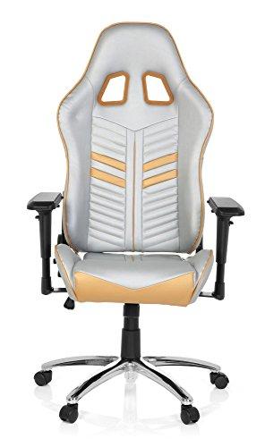 Silla Gaming / silla de oficina LEAGUE PRO piel sintética plateado / dorado