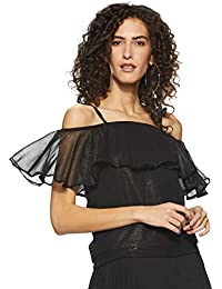 Miss Chase Womens Black Shimmery Off Shoulder Top
