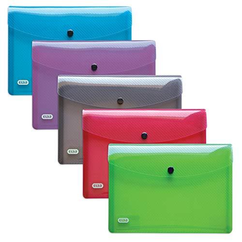 ELBA 400031402 Brieftasche hawai 5er Pack Format A5 aus robustem KunststoffDruckknopf-Verschluss mit Dokumenten-Tasche grün, grau, lila, rot, blau, farblos