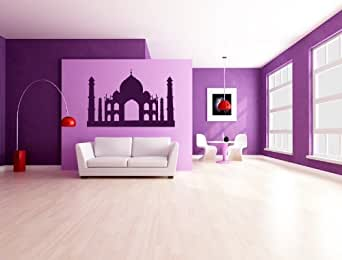 Autour du monde l inde Taj Mahal mur stickers art mural autocollant 01 - 50cm Hauteur - 50cm Largeur - noir vinyle