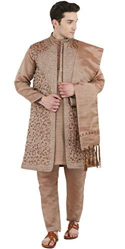 SKAVIJ Herren Kurta Pyjama Jacke und Stola Besticktes Kleid (Braun, Brustumfang - 112 cm) - Braun Baumwolle Salwar