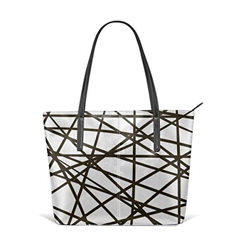 XGBags Custom Soft Leather Intersection Line Stripe Random Mesh Jungle Leather Zipper Tote Ladies Shoulder Bag Shoulder Bag For Travel Shopping Tote Umhängetaschen - Random Stripe