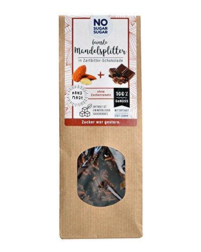 NO SUGAR SUGAR | Mandelsplitter in Zartbitter-Schokolade (100 g) vom Konditor, zuckerfrei & Low-Carb
