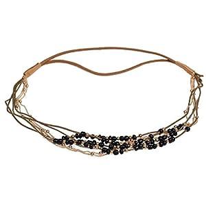 JUSTFOX – Haarband Boheme mit farbigen Perlen und Goldener Kette in Verschiedenen Farben