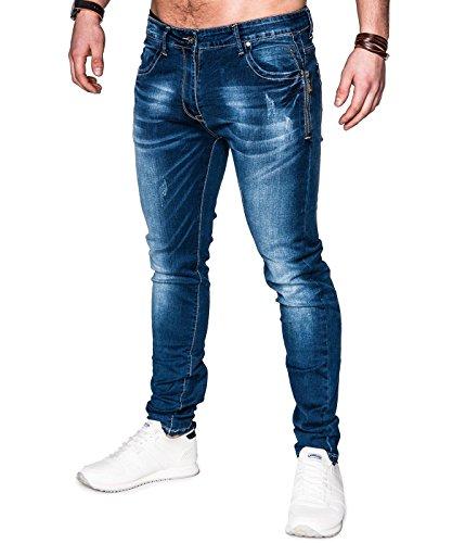 BetterStylz DiggermanBZ Herren Jeans Hose in modischer Waschung in zwei stylischen Ausführungen (S-XXL) Denim Stone Wash Zip