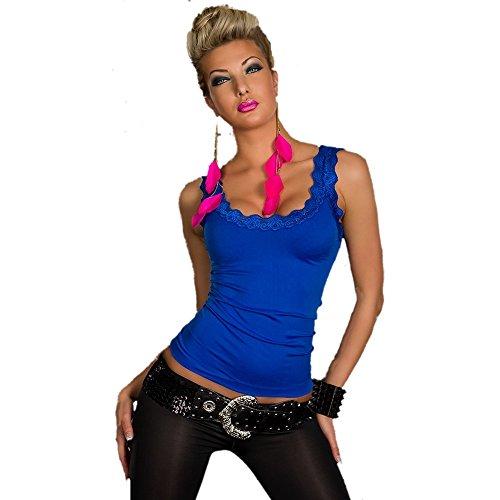 POWER FLOWER Top donna sexy da donna estate casual aderente pizzo top taglia UK 8/10, 12/14–EU 36/38, 40/42 Blue