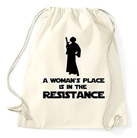 A Woman's Place IS IN THE Resistance Princesse Leia Princess Sac de gym Sac de sport Sac en jute sac à dos Hipster, naturel