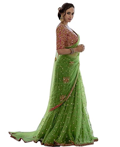 Isha Enterprise Women\'s Nylon Mono Net Parrot Green Thread Work Designer Saree