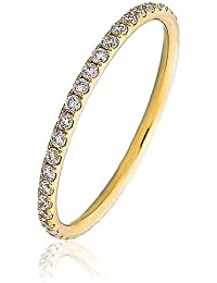 0.40CT Certified G/VS2 Round Brilliant Cut Claw Set Full Eternity Diamond Ring in 18K Yellow Gold